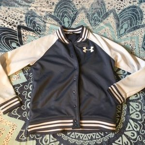 New under armour button up letterman soft